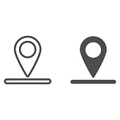 Location of golf hole on map line and solid icon, golf concept, Golf position sign on white background, pin golf logo icon in outline style for mobile concept and web design. Vector graphics
