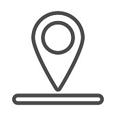 Location of golf hole on map line icon, golf concept, Golf position sign on white background, pin golf logo icon in outline style for mobile concept and web design. Vector graphics.