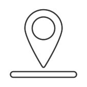 Location of golf hole on map thin line icon, golf concept, Golf position sign on white background, pin golf logo icon in outline style for mobile concept and web design. Vector graphics.