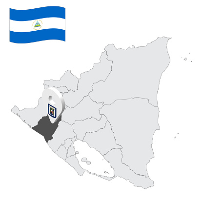 Location of  Leon Department  on map Nicaragua . 3d location sign similar to the flag of Leon. Quality map  with  provinces of  Nicaragua for your design. EPS10