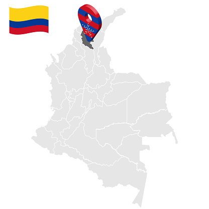 Location of Magdalena on map Colombia. 3d  Magdalena location sign. Flag of Magdalena. Quality map with regions  of Colombia for your web site design, logo, app, UI. Stock vector. EPS10.