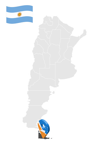 Location of  Province Tierra del Fuego on map Argentina. 3d location sign similar to the flag of Tierra del Fuego. Quality map  with  provinces of  Argentina for your design. EPS10