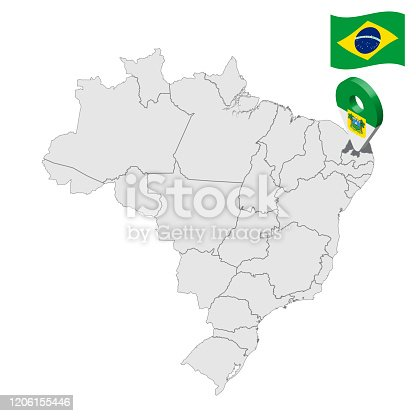 istock Location of Rio Grande do Norte on map Brazil. 3d Rio Grande do Norte location sign similar to the flag of Rio Grande do Norte. Quality map  with regions of Brazil. Federal Republic of Brazil. EPS10. 1206155446