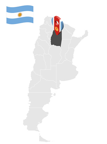 Location of  Santa Fe Province  on map Argentina. 3d location sign similar to the flag of Santiago del Estero. Quality map  with  provinces of  Argentina for your design. EPS10