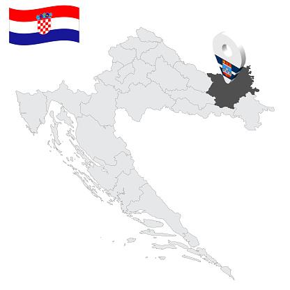 Location Osijek-Baranja County on map Croatia. 3d location sign similar to the flag of Osijek-Baranja County. Quality map  with regions of  Croatia for your design. EPS10.