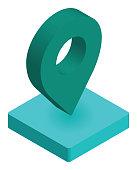 Location Pin Icon Isometric Illustration