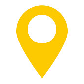 location pin icon on white background. location pin point. flat style. yellow location pin symbol. yellow map pointer icon for your web site design, logo, app, UI.