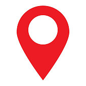 location pin icon on white background. location pin sign. flat style. red location pin symbol.