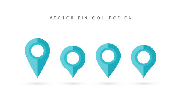 Mapa Plano Con Pin Icono De Puntero De La: Vectores De Moderna Mapa De Navegación Con Puntero Pin
