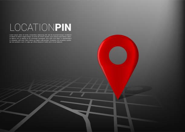 3d-positionstifchen-markierung auf der stadtbahnkarte. - karte navigationsinstrument stock-grafiken, -clipart, -cartoons und -symbole