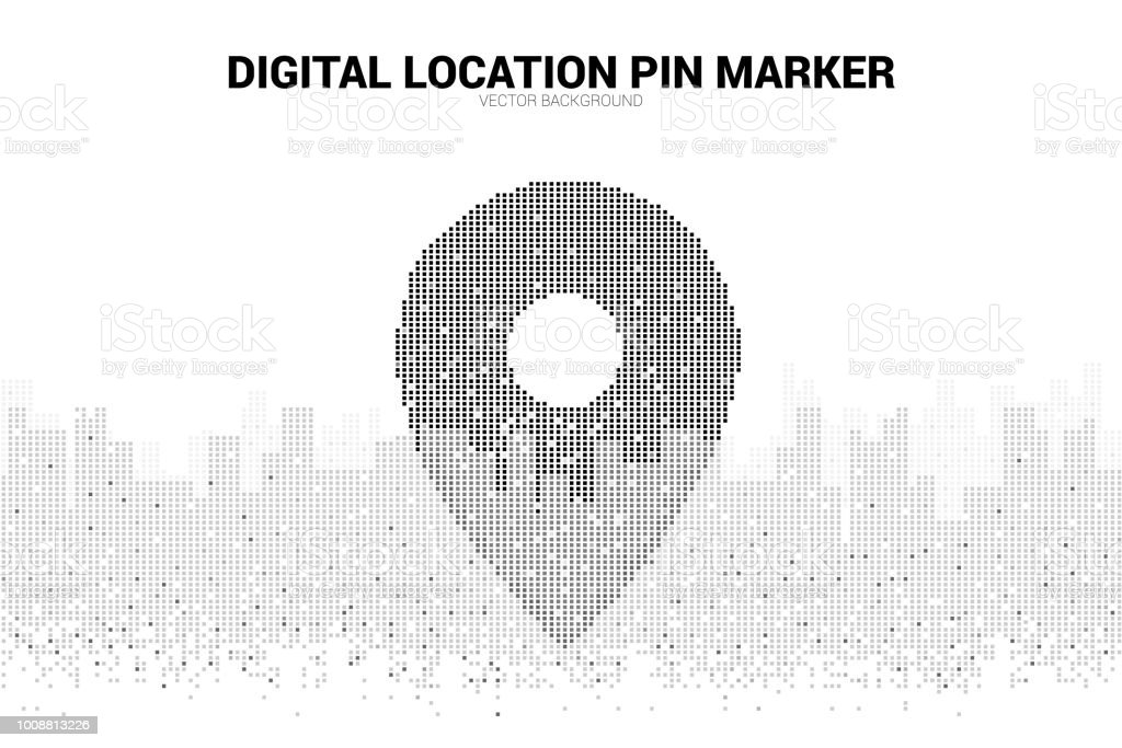 location pin marker signage pixel style with city background stock