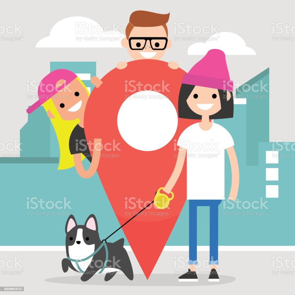 Location pin. Navigating in the city. A group of young characters gathering near by a red location pin sign / flat editable vector illustration, clip art vector art illustration