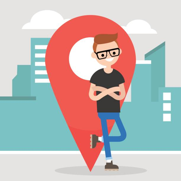 Location pin. Navigating in the city. Young character leaning on the red location pin sign / flat editable vector illustration, clip art Location pin. Navigating in the city. Young character leaning on the red location pin sign / flat editable vector illustration, clip art maple syrup stock illustrations