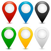 Location pointer icon vector with different colors.