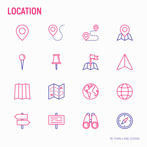 Location thin line icons set: pin, pointer, direction, route, compass, wall needle, cursor, navigation, GPS, binoculars. Modern vector illustration. vector art illustration