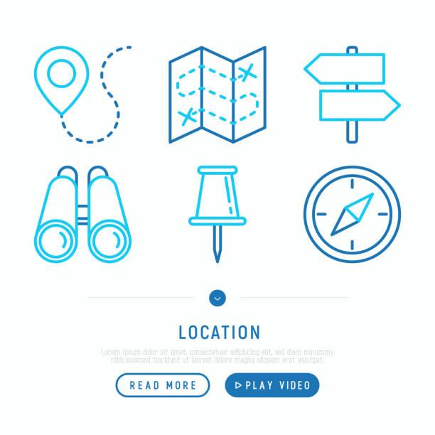 illustrazioni stock, clip art, cartoni animati e icone di tendenza di location thin line icons set: pin, pointer, direction, route, compass, wall needle, binoculars. modern vector illustration. - near