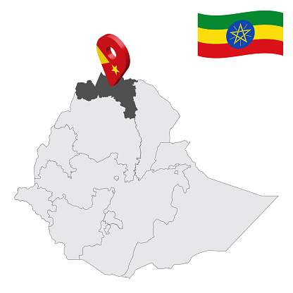 Location Tigray Region on map Ethiopia. 3d location sign similar to the flag of  Tigray. Quality map  with  provinces Ethiopia for your design. EPS10