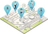 A 3D map pinpoints the locations of people as they shop, work, and check their mobile devices.
