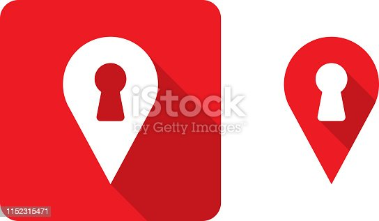Vector illustration of red location marker with keyhole icons in flat style.