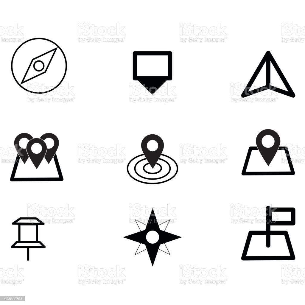 Vector de icono de estilo minimalista lugares Eps10 set. - ilustración de arte vectorial