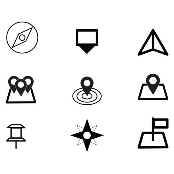 ilustraciones, imágenes clip art, dibujos animados e iconos de stock de vector de icono de estilo minimalista lugares eps10 set. - regreso a clases