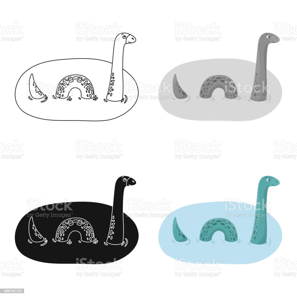 Loch Ness monster icon in cartoon style isolated on white background. Scotland country symbol stock vector web illustration. - arte vettoriale royalty-free di Acqua