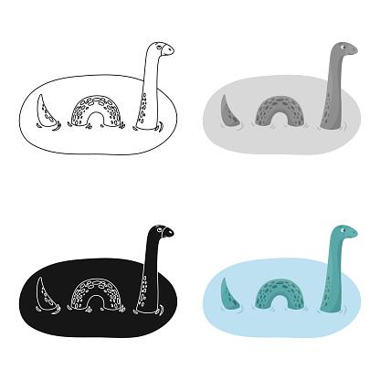 Loch Ness Monster Pictogram In Cartoon Stijl Geïsoleerd Op Een Witte Achtergrond Schotland Land Symbool Voorraad Web Vectorillustratie Stockvectorkunst en meer beelden van Cartoon