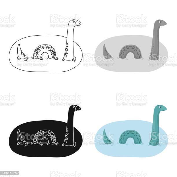 Icona Mostro Di Loch Ness In Stile Cartone Animato Isolata Su Sfondo Bianco Scozia Simbolo Paese Stock Vettore Illustrazione Web - Immagini vettoriali stock e altre immagini di Acqua
