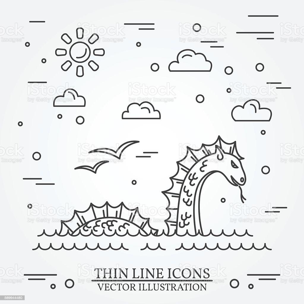 Loch Ness monster. vector art illustration