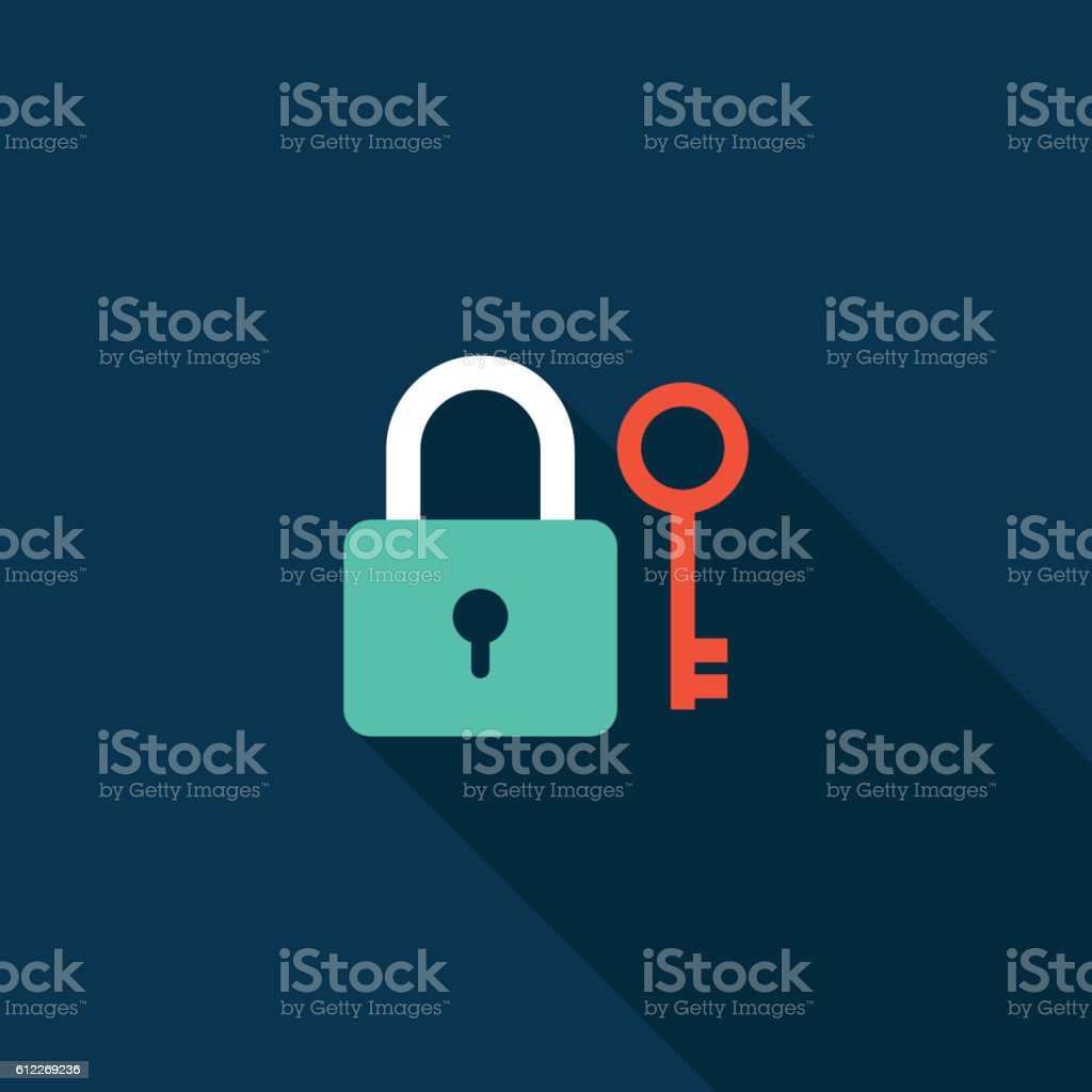 Lock and key icon flat design isolated vector illustration vector art illustration