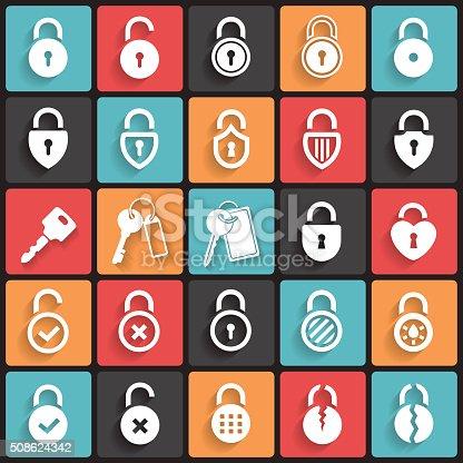 Lock and Key Icons & Symbols. Abstract vector illustration.