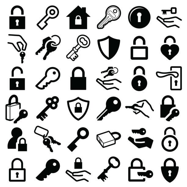 ilustrações, clipart, desenhos animados e ícones de ícones de fechadura e chave - chave