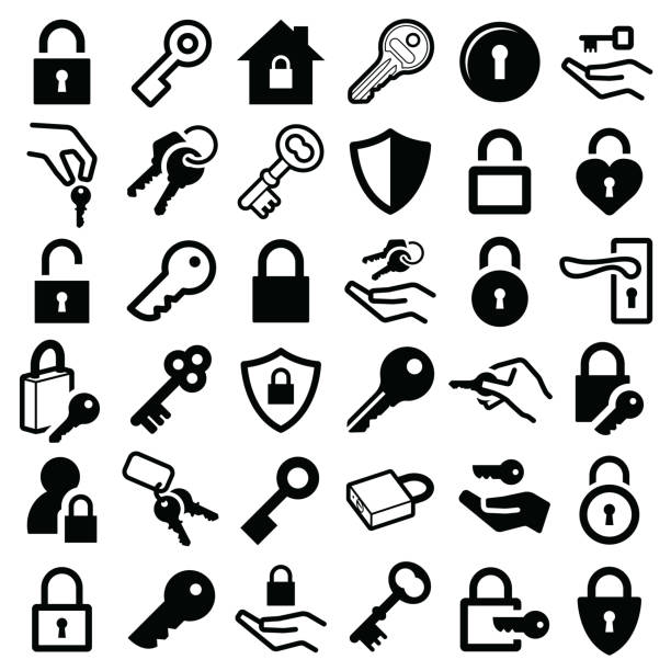 Lock and key icons Lock and key icon collection - vector silhouette and illustration locking stock illustrations