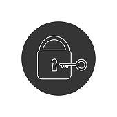 istock Lock and key vector line icon 1323306644