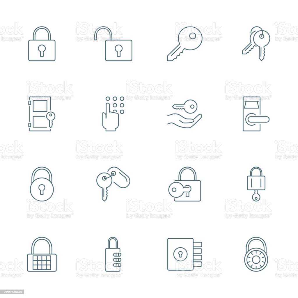 Lock and keys icons set vector art illustration