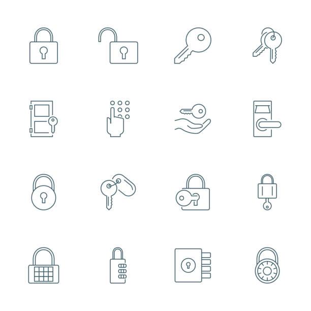 lock and keys icons set - klucz stock illustrations
