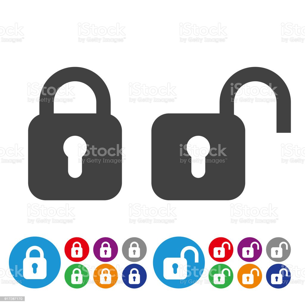 Lock And Unlock Icons Graphic Icon Series Stock Illustration