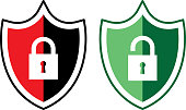 Vector illustration of a red and black lock shield and a light green and green unlock shield.