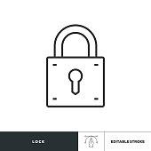 istock Lock Editable Stroke Icon 1219346841