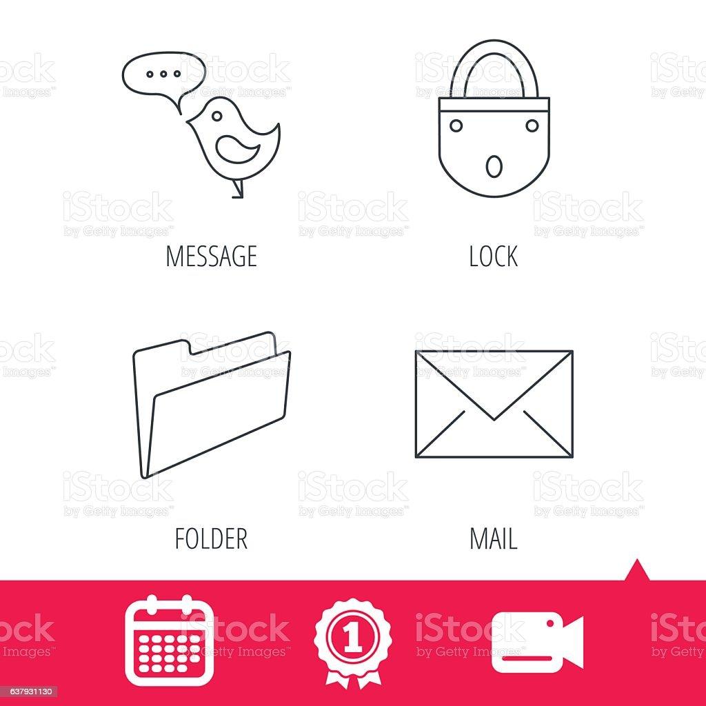 Lock, folder hand and e-mail icons. vector art illustration