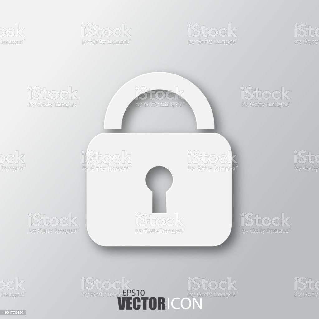 Lock icon in white style with shadow isolated on grey background. royalty-free lock icon in white style with shadow isolated on grey background stock vector art & more images of abstract