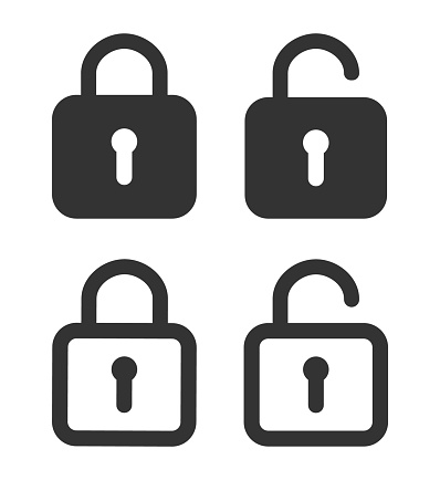 Lock icon. Padlock unlock. Password for closed of locker on website. Symbol of private and security in line style. Open safe with key or login. Set of graphic icons for protection concept. Vector