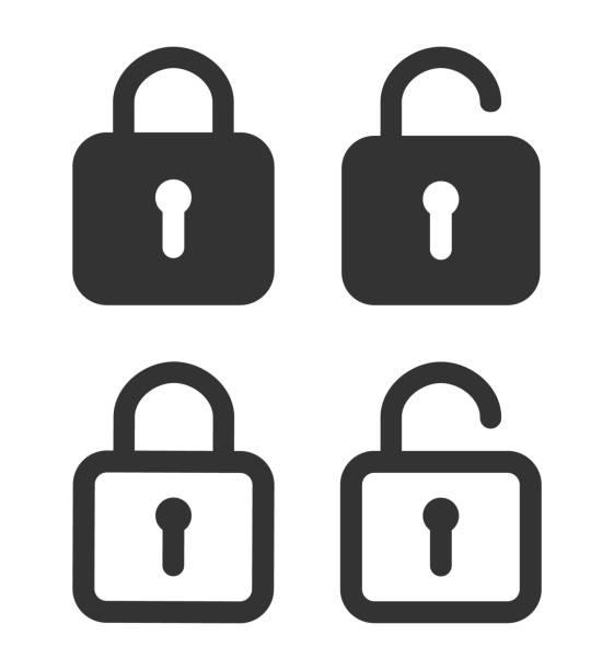 ilustrações, clipart, desenhos animados e ícones de ícone de bloqueio. desbloqueio de cadeado. senha para fechamento de armário no site. símbolo de segurança privada e em estilo de linha. abra com chave ou login. conjunto de ícones gráficos para conceito de proteção. vetor - fechado