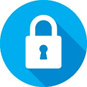Vector illustration of a blue lock icon in flat style.
