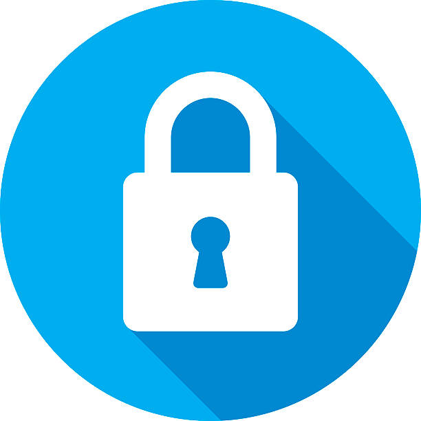 Lock Icon Silhouette Vector illustration of a blue lock icon in flat style. unlocking stock illustrations