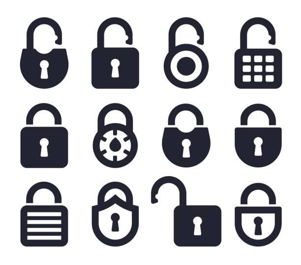 ilustrações, clipart, desenhos animados e ícones de bloqueio de ícones e símbolos - fechado