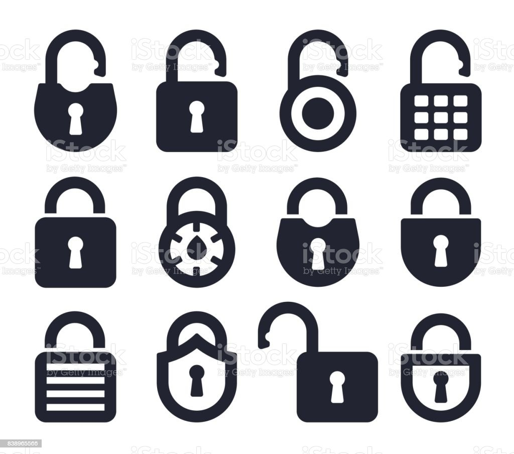 Lock Icons and Symbols vector art illustration