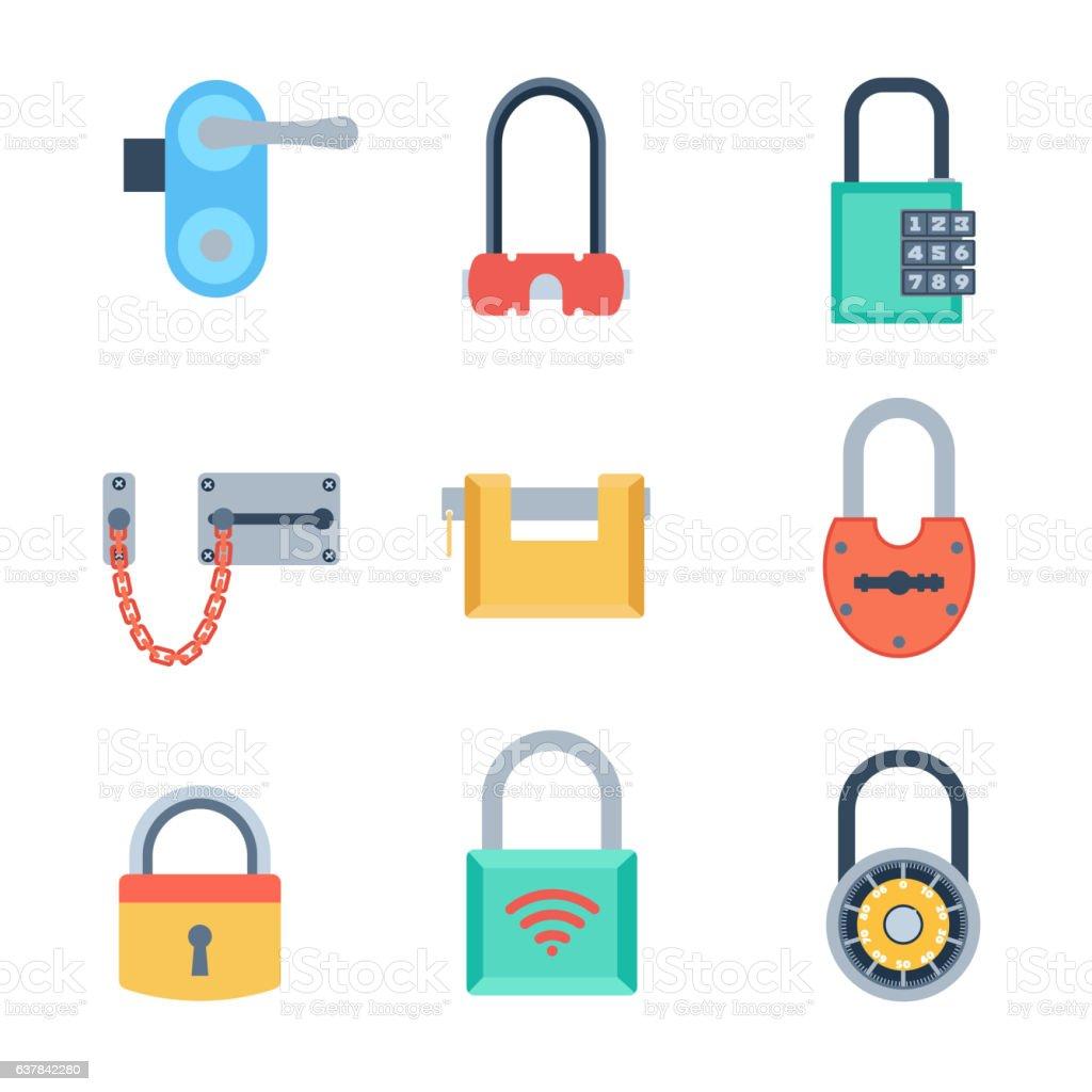 Lock icons set vector. vector art illustration