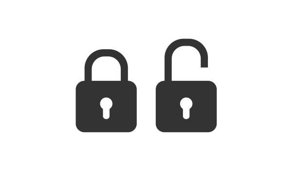 schloss-symbole-vektor - offen allgemeine beschaffenheit stock-grafiken, -clipart, -cartoons und -symbole