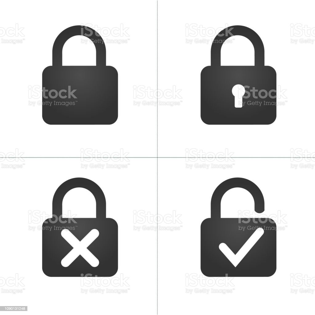 Lock Icons with keyhole cross and checkmark, Vector illustration isolated on white background. royalty-free lock icons with keyhole cross and checkmark vector illustration isolated on white background stock illustration - download image now